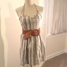 PinUp style Halter Dress Halter dress looks super cute with wedges. The belt was my own addition and is a little beat up but will sell together for same price if requested by buyer. Only wrinkled from being in storage, dress was for my last day of high school so it was in a box for 4 years! Forever 21 Dresses