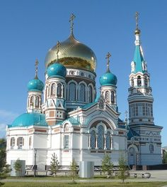 СВЕТЛО И РАДОСТНО . Omsk, Russia: Church of the Dormition of the Theotokos Russian Architecture, Sacred Architecture, Religious Architecture, Church Architecture, Beautiful Architecture, Beautiful Castles, Beautiful Buildings, Beautiful Places, Houses Of The Holy