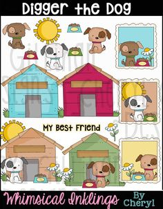 Digger The Dog Clip Art, Commercial Use, Clipart, Digital Image, Png, Instant Download, Puppy, Dog House, Labels, Card Front, Pet, Word Art by ResellerClipArt on Etsy
