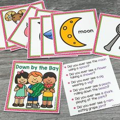 Use these free rhyming picture cards with the Down By The Bay song. Kids love matching the rhymes on the cards and using them to extend the classic song. Movement Songs For Preschool, Preschool Songs, Preschool Literacy, Preschool Plans, Preschool Assessment, Kindergarten Songs, Free Preschool, Learning Stations, Literacy Stations
