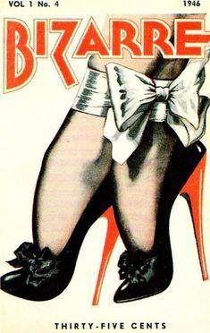 illustration US : John Willie, couverture de magazine, Bizarre, 1946, pieds et chaussures escarpins