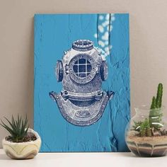 placa blue diver 20x29