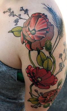 CODY EICH at Studio 13 Creative Skin Design in Ft. Wayne, IN - Flowers and Berries Tattoo on shoulder/arm