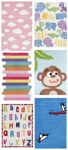 What bright and fun children rugs! Visit Rugs USA to see tons of options for kids!