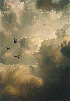 Birds in sunlit clouds
