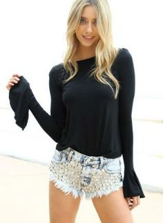 Black+Long+Sleeve+Top+with+Frill+Flare+Sleeves,++Top,+long+sleeve+top++flare+sleeves,+Casual