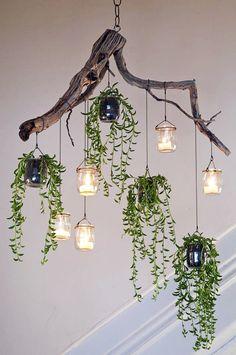 indoor hanging plants ideas to decorate your home 4 ~ mantulgan.me indoor hanging plants ideas to decorate your home 4 ~ mantulgan. Driftwood Chandelier, Diy Chandelier, Christmas Chandelier, How To Make Chandelier, Outdoor Chandelier, Modern Chandelier, Outdoor Lighting, Backyard Lighting, Garden Room Lighting