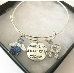 Cool Aunt Angel And Charm Bangle Send Package, Personalised Bauble, Like A Mom, Bespoke Jewellery, Initial Charm, Aunt, Birthstones, I Am Awesome, Initials