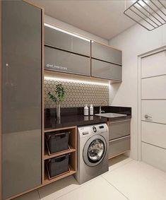 functional and stylish laundry room design ideas to inspire 41 Modern Laundry Rooms, Laundry Room Layouts, Laundry Room Cabinets, Laundry Room Organization, Storage Organization, Küchen Design, House Design, Interior Design, Design Ideas