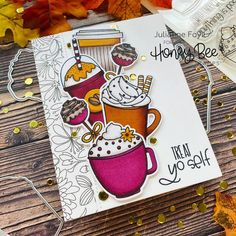Set Honey, Honey Bee Stamps, Coffee Cards, Bee Cards, Fall Cards, Christmas Cards, Christmas Ornaments, Card Sketches, Cute Crafts