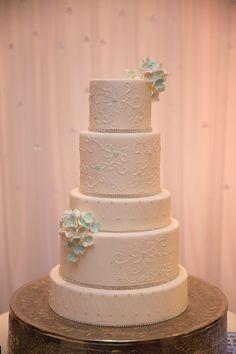 Something Blue wedding cake designed by @ChefBrielle Photo captured by: @erikadelphotos #chezbonbon #weddingcake #cake #somethingbleau #fontainebleau