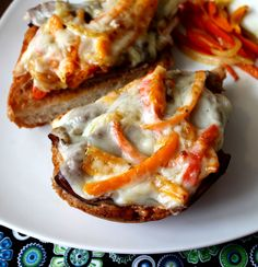 Open Faced Roast Beef Sandwich Melt with Peppers and Onions