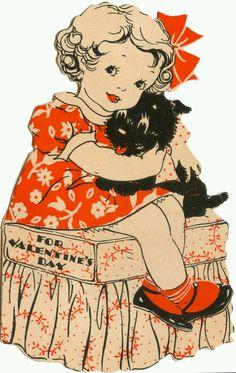 Girl and Scottie dog Vintage Valentine Valentine Images, My Funny Valentine, Vintage Valentine Cards, Vintage Greeting Cards, Love Valentines, Valentine Day Cards, Vintage Holiday, Vintage Postcards, Vintage Dog