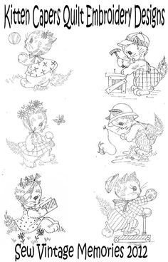 Vintage kitten cat capers baby crib quilt hand embroidery pattern seller sourcebook auctions templates image hosting dt1010fo