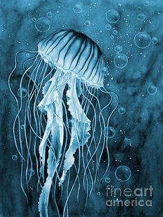 Jellyfish On Blue Painting by Hailey E Herrera Underwater Art, Art Painting, Amazing Art, Watercolor Paintings, Painting, Blue Painting, Blue Art, Art, Jellyfish Painting