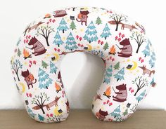 Boppy Cover Woodland Campfire Friends Fox & Bear -- Breastfeeding Pillow Slipcover Cotton Flannel