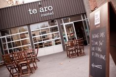 Great cafe: te aro  - 983 Queen St E Toronto Ontario Canada M4M 1K2 - Leslieville with Yelp Restaurant Reviews Restaurant Specials, Restaurant Service, Storefront Signs, Toronto Ontario Canada, Store Fronts, Sign Design, The Neighbourhood, Home Improvement, Windows