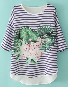 Floral Dipped Hem T-Shirt