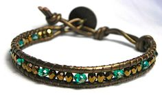 Teal and Bronze Beaded Leather Wrap Bracelet1 by WrapsForever, $10.00