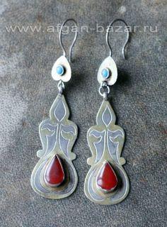 Туркменские серьги с бирюзой и сердоликом