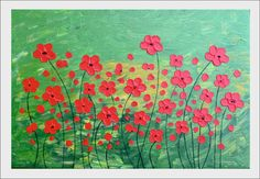 Flowers in red  Original abstract painting
