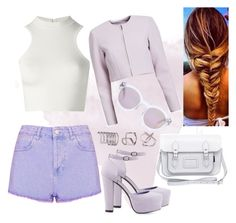 """""""purple"""" by swagwhitglamour ❤ liked on Polyvore featuring Versace, Topshop, Zatchels, Madewell, 10 Crosby Derek Lam, Nly Shoes, Ashley Stewart, women's clothing, women's fashion and women"""