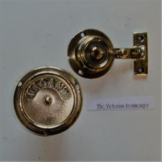 Genuine Victorian All Brass Toilet or Bathroom Door Indicating Bolt.