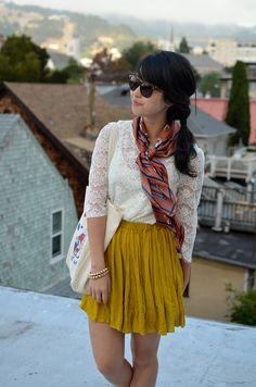 scarf and mustard yellow skirt