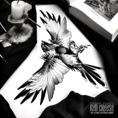 Pin Up Tattoos, Anime Tattoos, Body Art Tattoos, New Tattoos, Cool Tattoos, Black Bird Tattoo, Black Tattoos, Bird Drawings, Tattoo Drawings