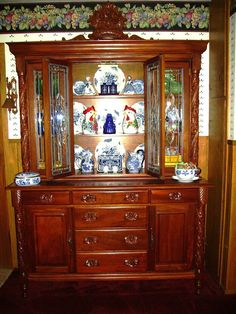 Pretty China Cabinet arrangement from Sharing with Sherri: Thrifty Treasures/Blue Monday - Frenchy Craiglist China Cabinet