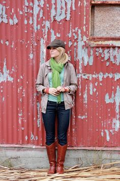 jacket + hat + jeans + boots + scarf + fall (via eat, live, run)---hey, that's me!