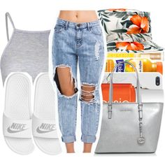 A fashion look from July 2015 featuring Glamorous tops, NIKE sandals and MICHAEL Michael Kors tote bags. Browse and shop related looks.