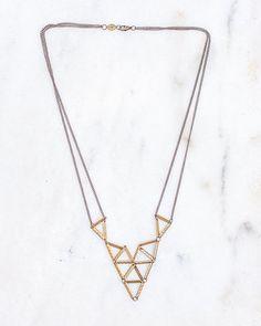 Geometric Brass Bar Necklace Vintage Brass Chain Necklace