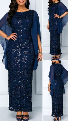 Chiffon Panel Navy Sequin Embellished Lace Maxi Dress - New Site Long African Dresses, Latest African Fashion Dresses, Women's Fashion Dresses, Fashion Fashion, Cute Dress Outfits, Modest Dresses, Pretty Dresses, Beautiful Dresses, Lace Dress Styles