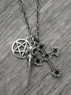 Bird Skull Pentagram & Vintage Cross Charm Necklace by InkandRoses13