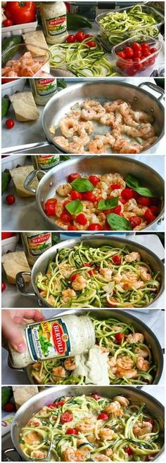 One Pot Low Carb Shrimp Alfredo | This easy one pot meal is a combination of shrimp, fresh tomatoes, zucchini noodles, and creamy alfredo sauce. This easy low carb shrimp alfredo recipe only takes minutes to make! If you're looking for a healthy shrimp alfredo recipe you're going to love this! #PremiumPrep #ad