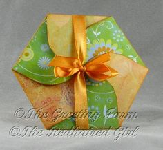 folded and tied petal hexagon card