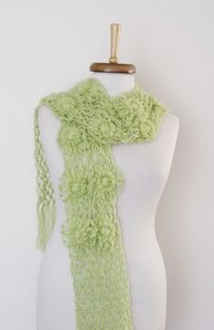 Light Green Daisy ScarfReady For Shipping by knittingshop on Etsy, $28.00