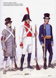 Spanish;1. Militiaman Zaragosa, Fusilier Extremadura Infantry Regt. & Fusilier Batalion Ligero de Zaragosa . All 1808-09