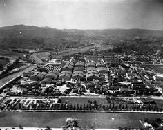 Studios, aerial view Universal City back ranch area can be seen upper left side of the image. Universal City, Universal Studios, Hollywood Photo, Vintage Hollywood, Vintage California, Southern California, Warner Bros Studios, San Fernando Valley, Hooray For Hollywood