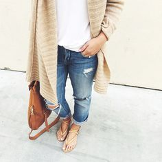 distressed boyfriends and cardigan | crystalin marie