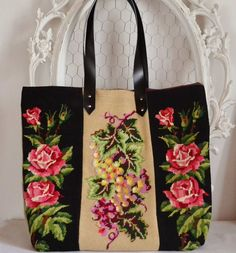 Needlepoint flowered tapestry shopping tote bag by FrenchDecoChic