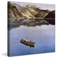 "Marmont Hill - ""Fishing on Mountain Lake"" by John Clymer Painting Print on"