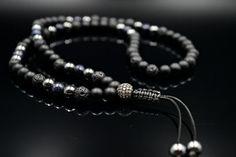Men's Black Onyx Necklace Lava Stone Necklace Gemstone Necklace Men's Jewelry Hematite Necklace Blue Sandstone Beaded Necklace Gift for Men