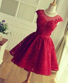 Cute A line lace high low prom dress, homecoming dress