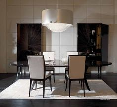 Fendi casa - Brunello table, Frangie chairs by Dimitri Rybaltchenko Fendi Casa, Minimalist Design, Contemporary Design, Dining Table, Design Inspiration, Living Room, Interior Design, Furniture, Breakfast Tables