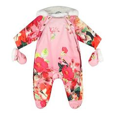 Baker by Ted Baker Babies pink botanical print snowsuit with mittens- at Debenhams.com