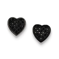 Sterling Silver Black CZ Micro Pave Heart Post Earrings