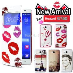 Stand Folio Flip PU Leather Case Cover with multiple design For Huawei Honor 3X G750 With Free Shipping