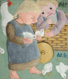 Werner Berg, Kinder mit Hendln, 1932 Photo Art, Berg, Children, Portraits, Painting, Photos, Woodblock Print, Watercolour, Drawing S